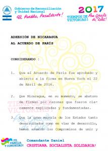 Documento divulgado por el gobierno de Nicaragua en el que declara su adhesión al Acuerdo de París.