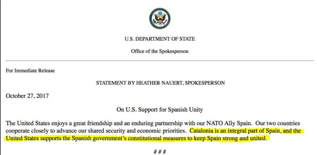 Comunicado oficial de Estados unidos