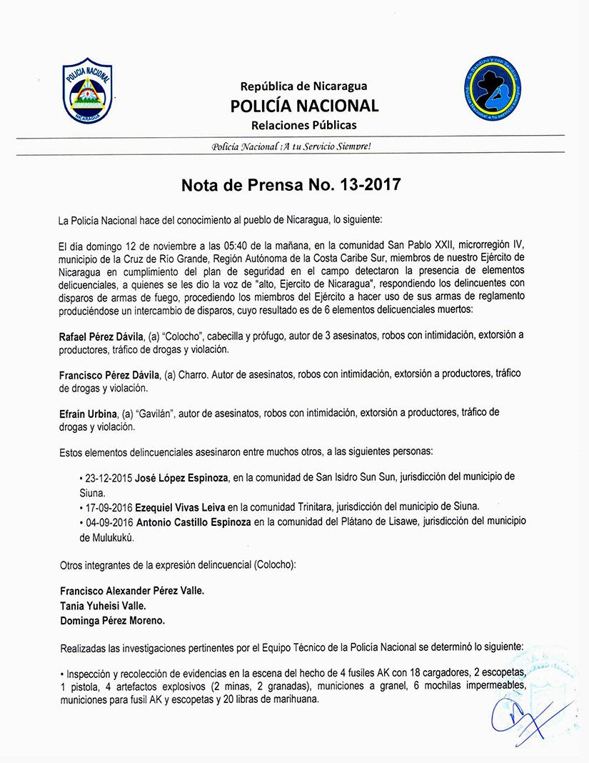 Comunicado de la Policía Nacional dando cuenta de los seis masacrados en La Cruz de Río Grande y anunciando la exhumación.