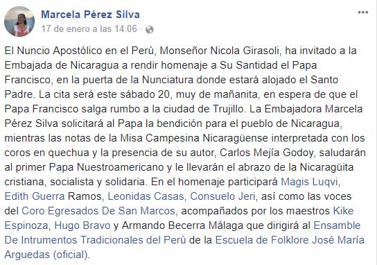 La Embajadora Marcela Pérez Silva solicitará al Papa la bendición para el pueblo de Nicaragua