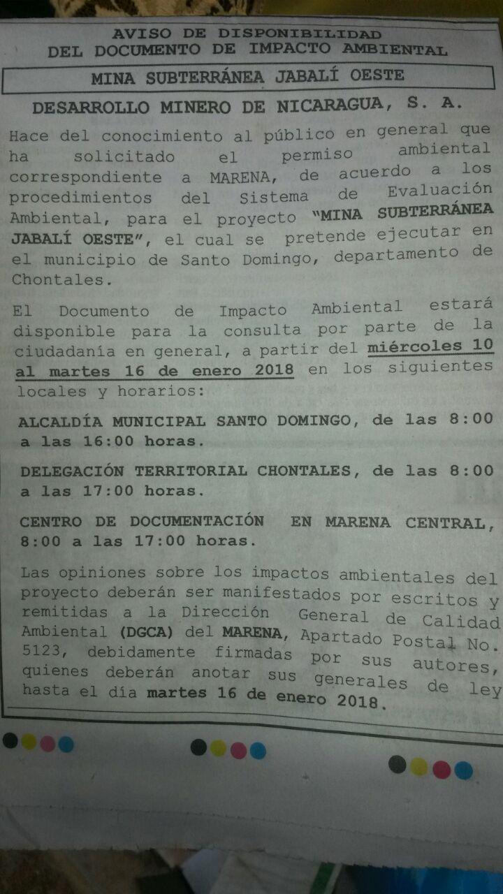 Aviso de disponibilidad del estudio de impacto ambiental de la Mina Subterránea Jabalí Oeste en Santo Domingo, Chontales