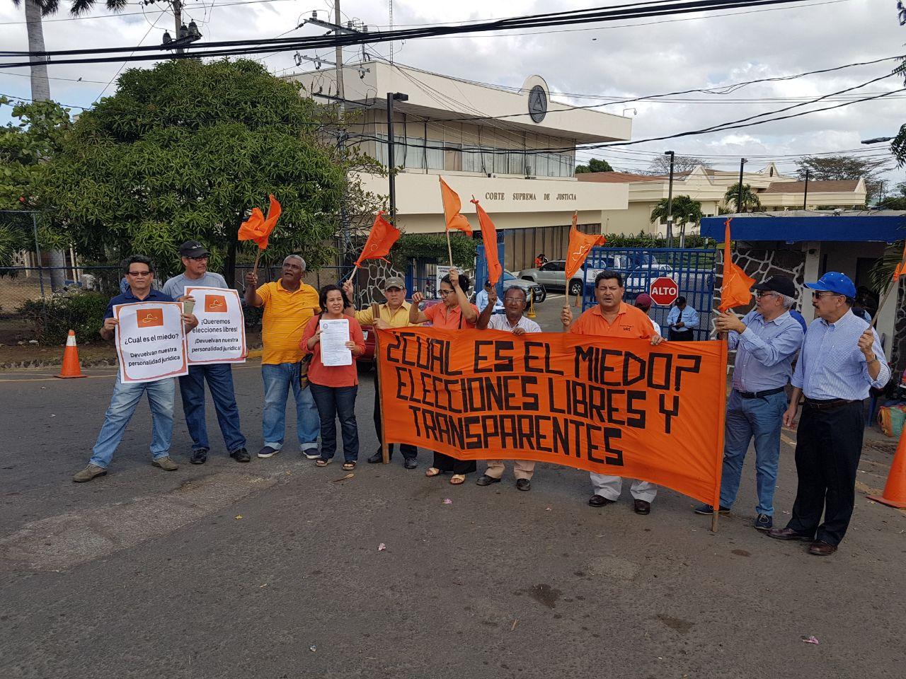 Movimiento Renovador Sandinista exige a la Corte Suprema Electoral que le devuelvan su personalidad jurídica. Foto: Cortesía
