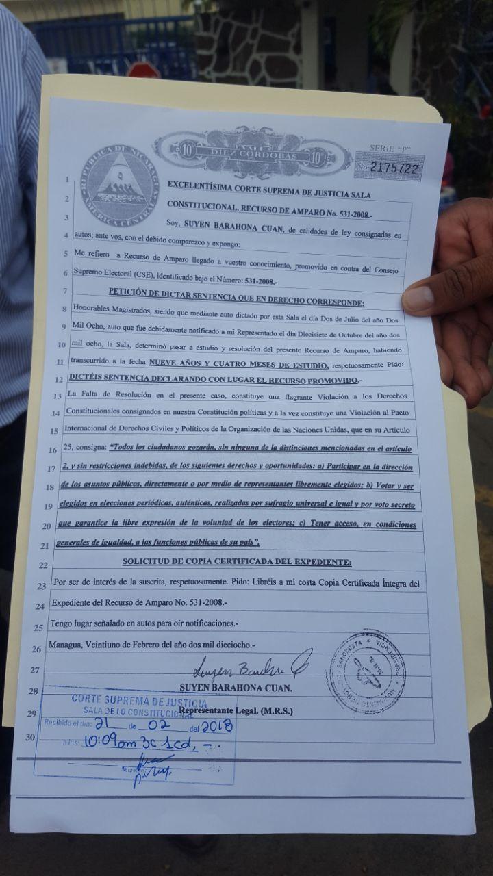 Documento de petición de que se dicte sentencia del MRS. Foto: Cortesía