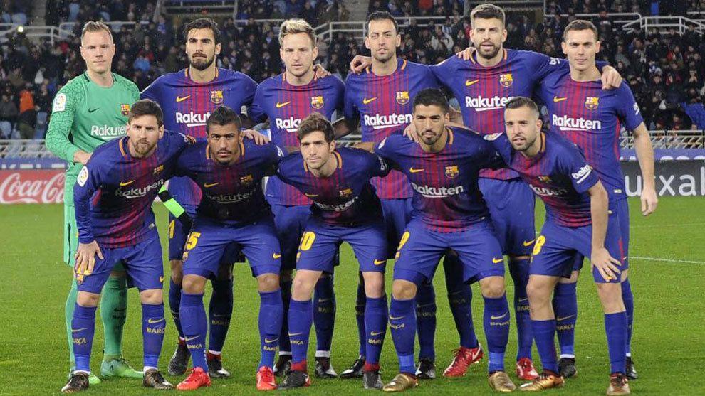 El once inicial del Barcelona para esta tarde.