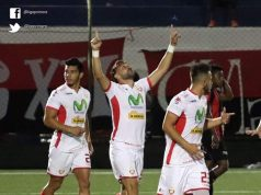 Dani Cadena celebra uno de sus dos goles ante el Ferreti, en la victoria 4-1. Foto: Liga Primera.