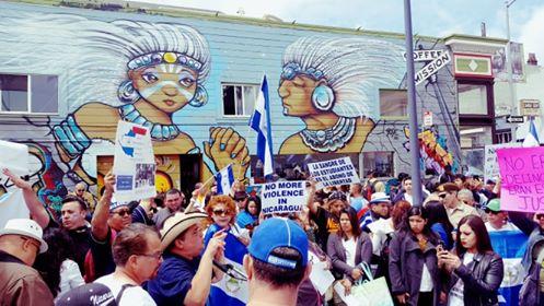 Nicaraguenses en California, Estados Unidos, se unen a las protestas contra el régimen de Daniel Ortega. Foto: J. Martínez