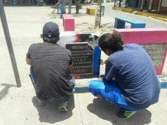 Monumentos cambian al color de la bandera de Nicaragua. Foto: Cortesía