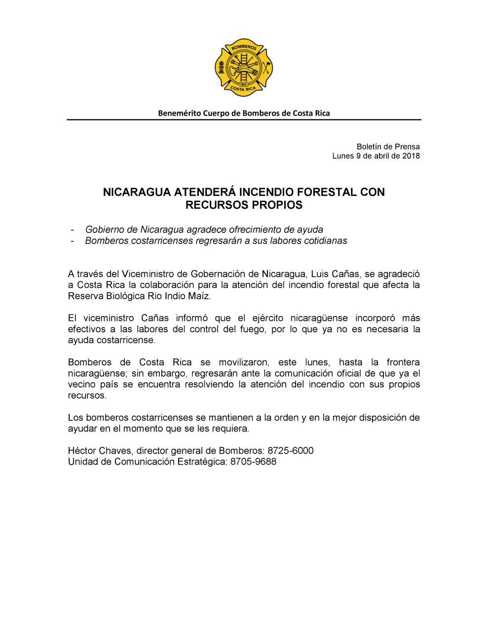 Comunicado del Benemérito cuerpo de Bomberos de Costa Rica