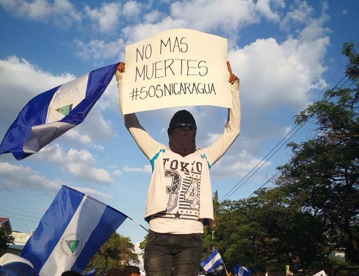 Nicaragüenses protestan contra el régimen de Daniel Ortega. Foto: M. Guevara