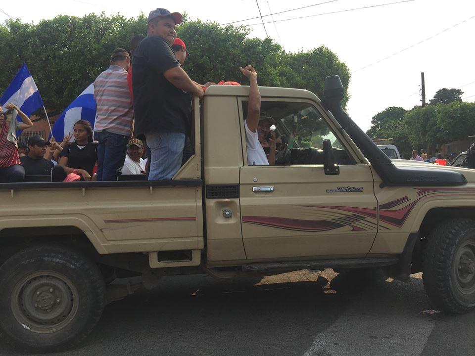 Marcelino García Quiroz movilizando simpatizantes del FSLN en Chinandega.