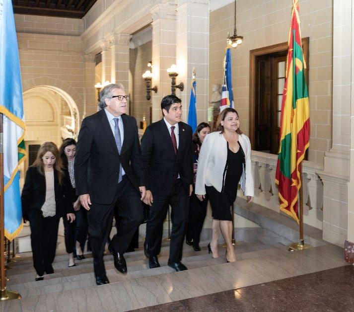 Carlos Alvarado ingresando a la reunión del Consejo Permanente de la OEA. Foto: tomada del OEA