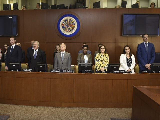 Consejo Permanente de la Organización de Estados Americanos recibe a los representantes de la CIDH para la presentación del informe final sobre la crisis de Nicaragua. Foto: tomada de Diario Metro