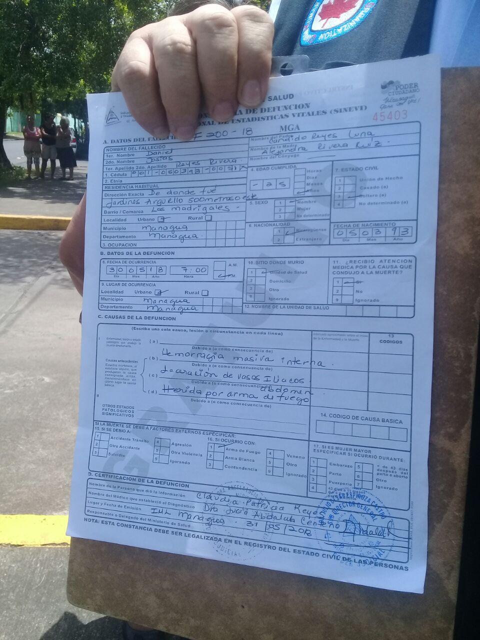 Acta de defunción de Daniel Josías Reyes. Fotografía: AMG/Artículo66