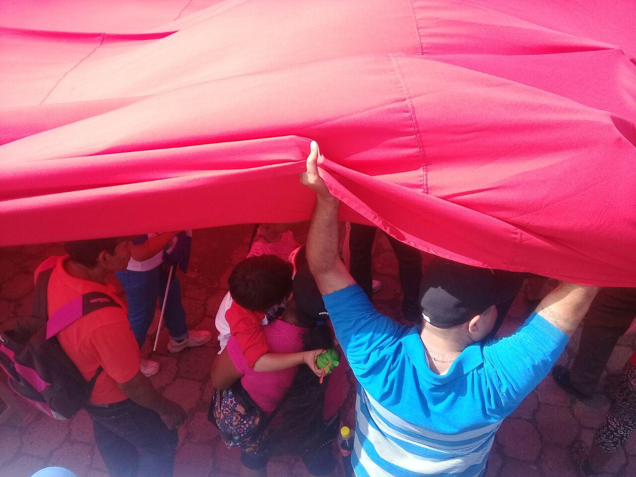 El régimen intentó disimular la poca cantidad de personas con enormes banderas. Foto/Artículo66