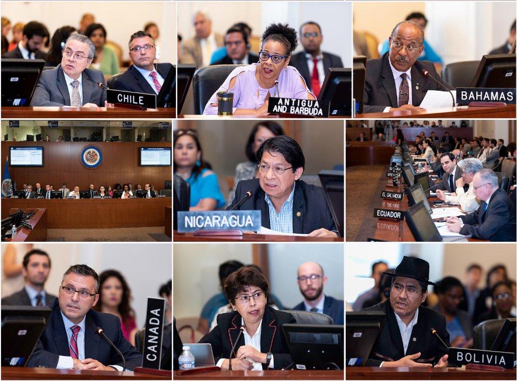 Consejo Permanente de la OEA analiza la crisis de Nicaragua en sesión extraordinaria aprueba resolución de condena a la represión que ejecuta el Estado de Nicaragua. Foto: OEA