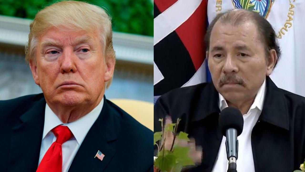 Donal Trump, presidente de los Estados Unidos, y Daniel Ortega, presidente de Nicaragua. Imagen: tomada de AbriedoBrechaTV