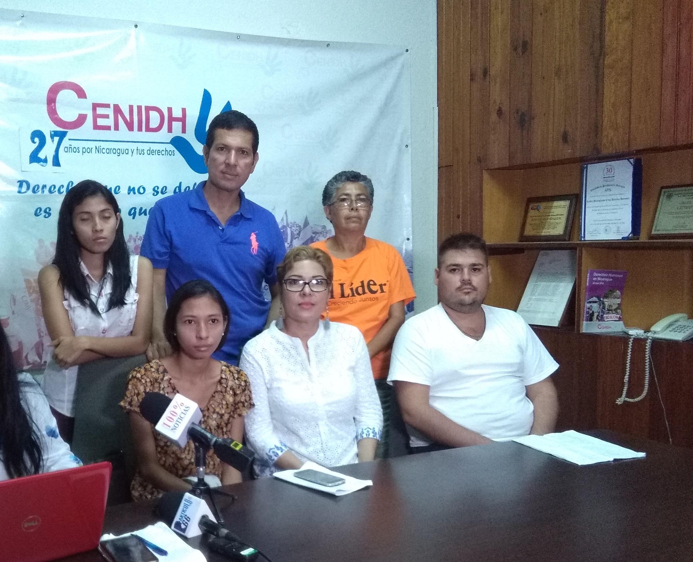 Miembros del M19 de La Paz Centro interponen denuncia ante el Cenidh. Foto: A. Cruz