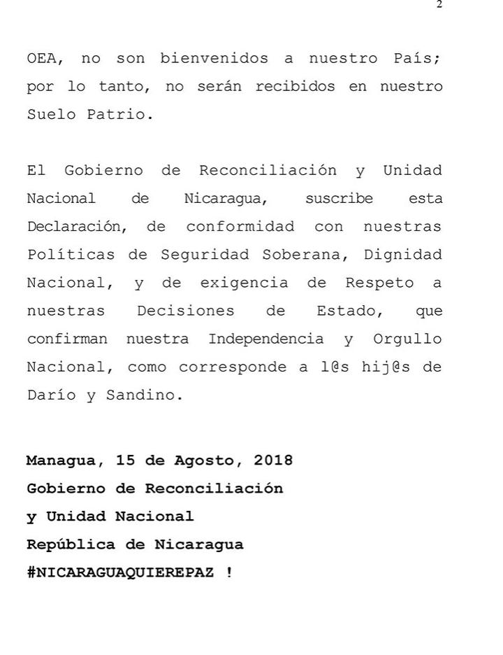 """Régimen de Ortega declara """"inaceptable"""" ingreso de la comisión de la OEA a Nicaragua"""