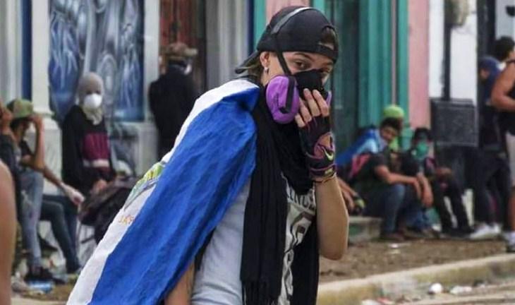 Nahomy Urbina, de 21 años, participó en los tranques y protestas sociales en contra del régimen de Daniel Ortega. Foto: Oscar Acuña