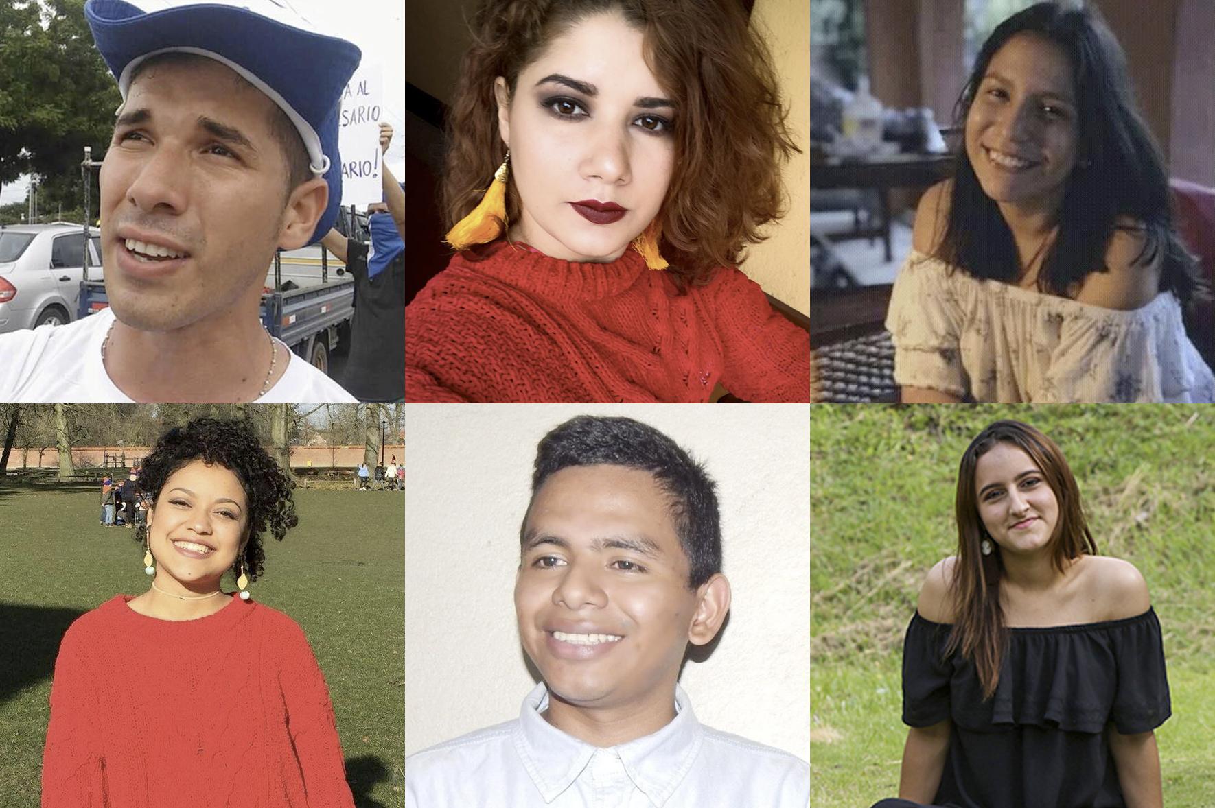 Edwin Carcache, Iskra Malespin, Gresia Rivera, Alejandro Centeno, Judith Mairena y Ariana Moraga, todos miembros de la Coalición Universitaria, fueron secuestrados. Foto: Cortesía