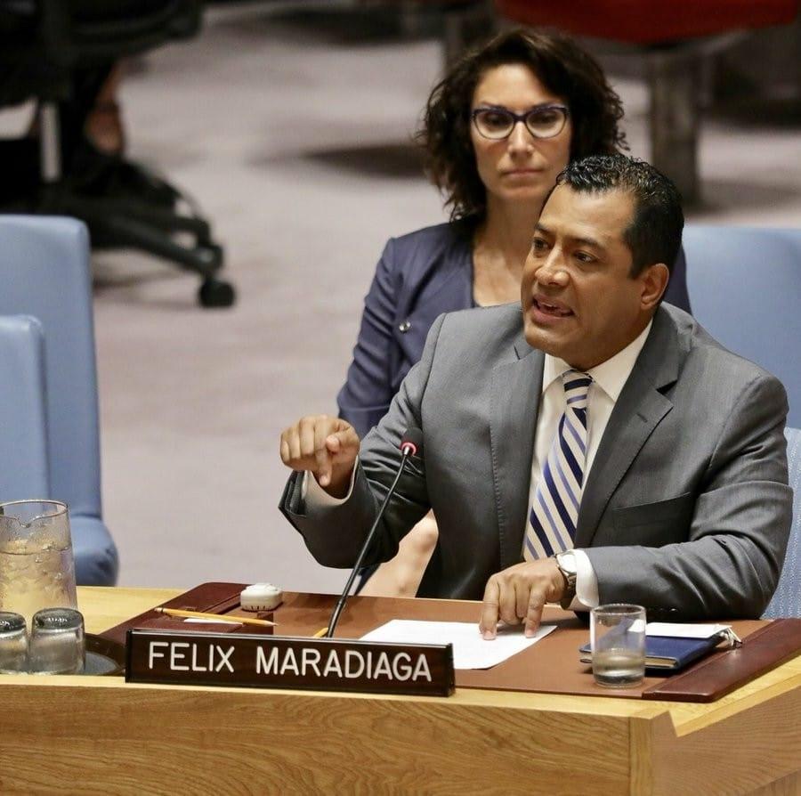 Félix Maradiaga durante su intervención en el seno del Consejo de Seguridad de las Naciones Unidas, donde denunció las violaciones de derechos humanos por parte de la dictadura de Ortega.