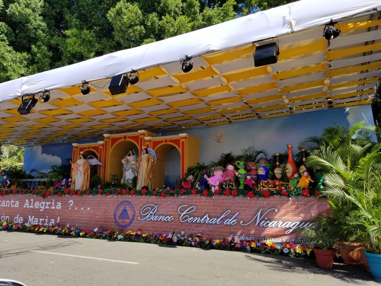 El altar del Banco Central de Nicaragua está instalado en la Avenida Bolívar, pero en el presupuesto de la institución no fue reportado el gasto. Foto: A. Navarro / Artículo 66