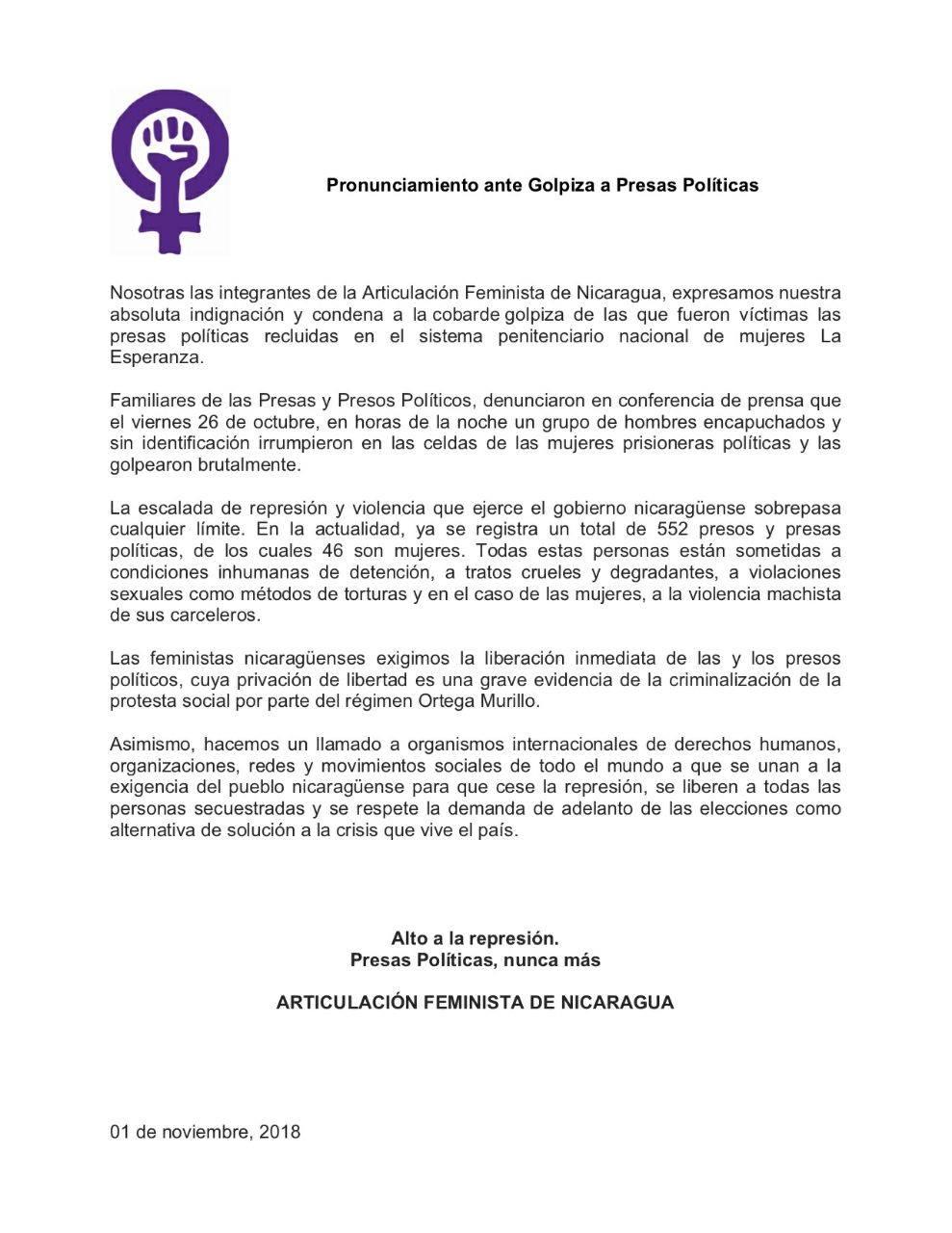 Pronunciamiento de la Articulación Feminista de Nicaragua