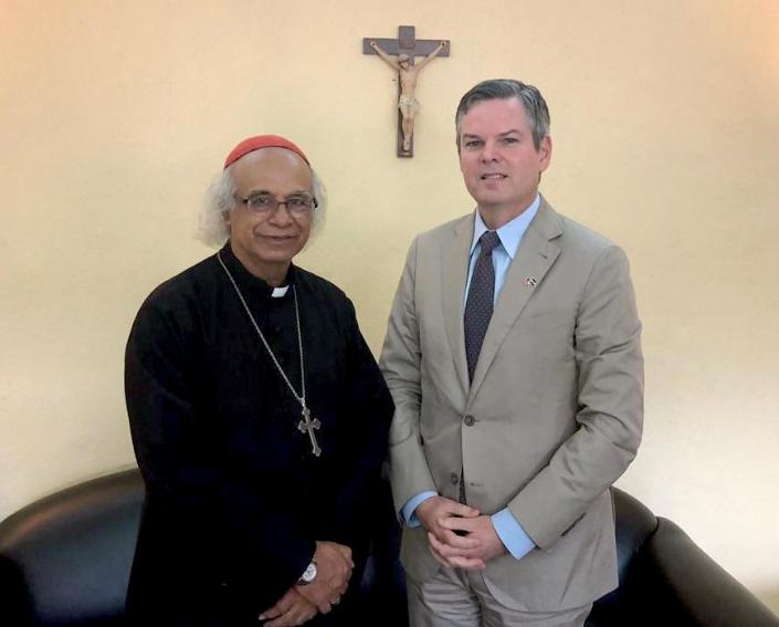 Nuevo embajador de Estados Unidos se reúne con el arzobispo Leopoldo Brenes. Foto: Cortesía