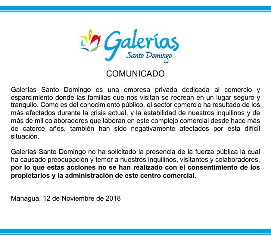 Comunicado de Galerías Santo Domingo.