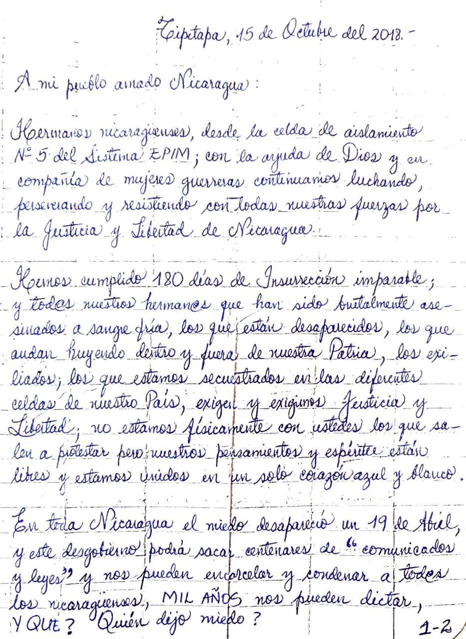 Carta de Irlanda Jerez, a seis meses de la revolución pacífica. Foto: Cortesía