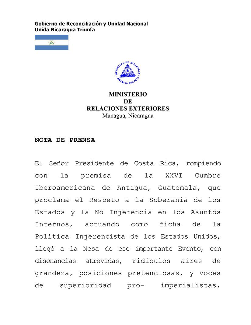 Nota de prensa del Ministerio de Relaciones Exteriores. Foto: 19 Digital