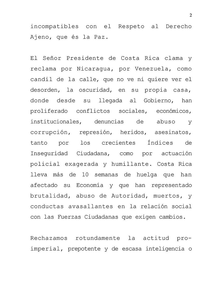 Nota de prensa del Ministerio de Relaciones Exteriores