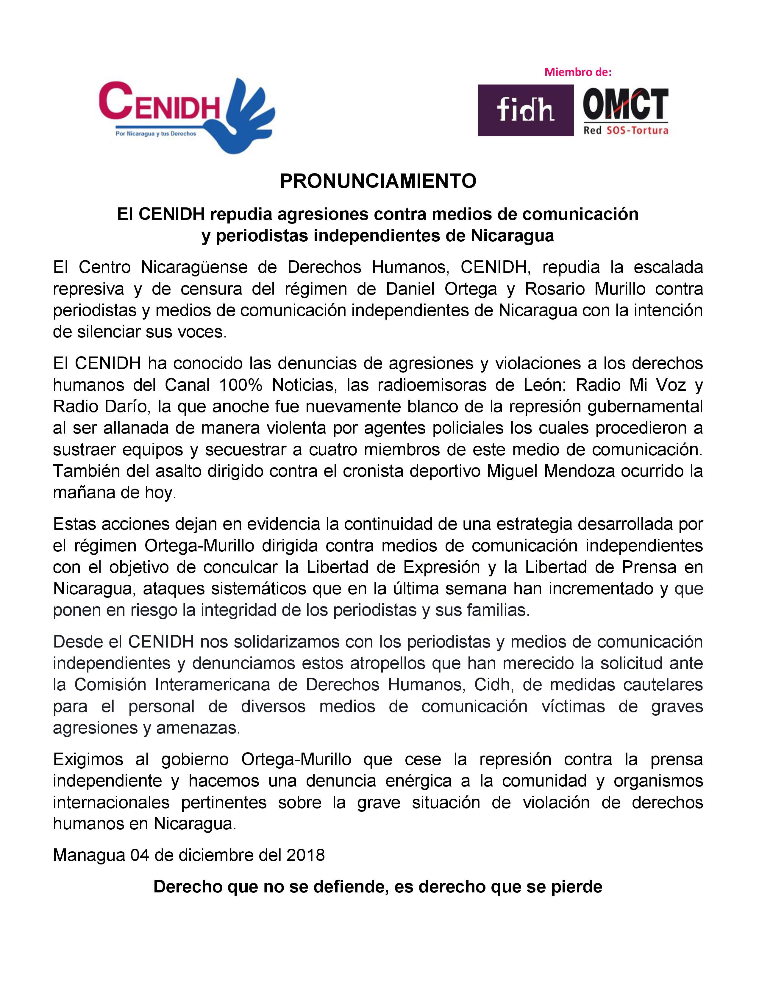 Comunicado del Cenidh condenando los actos de violencia contra los periodistas