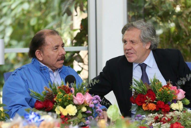 Daniel Ortega y Luis Almagro durante un encuentro en Nicaragua. Foto: La Prensa/Archivo