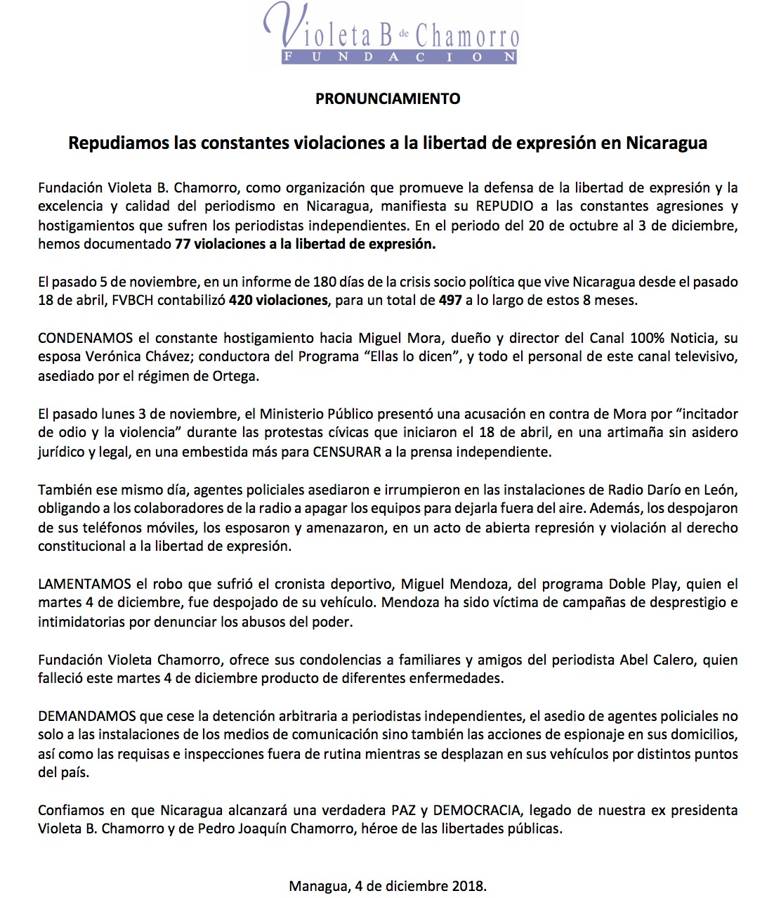 Comunicado de la Fundación Violeta Barrios de Chamorro.