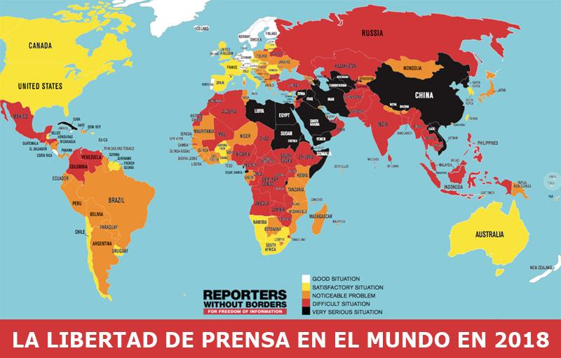 Nicaragua ocupa el lugar 102, entre 180 países, en la clasificación mundial de la Libertad de Prensa 2018 elaborada por RSF