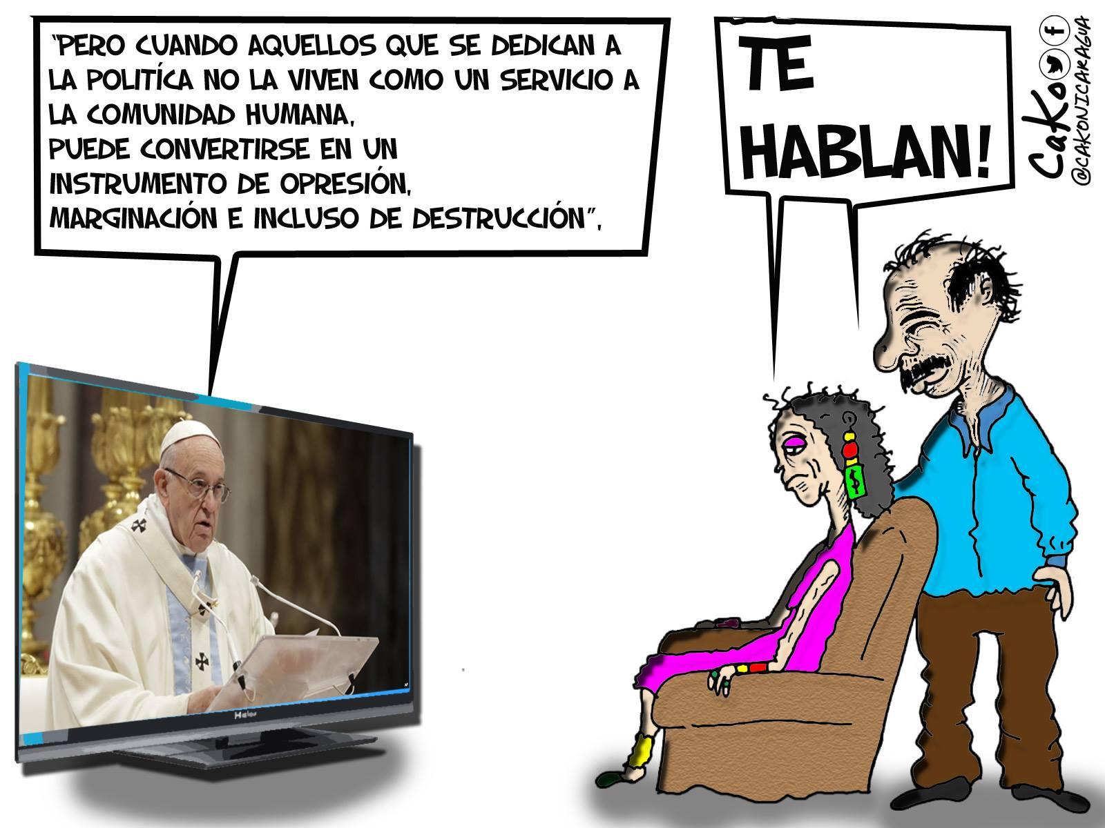 """La Caricatura: El Papa Francisco le dice a """"Juan"""" para que oiga """"Pedro"""""""