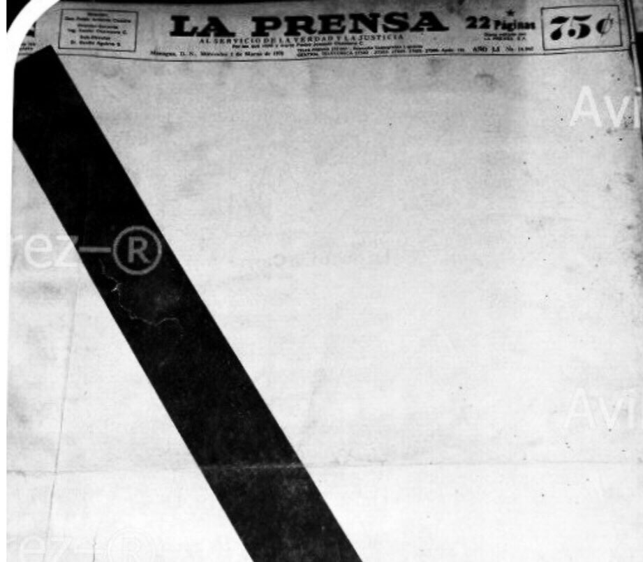 Portada en blanco de La Prensa en 1978, la dictadura de Somoza también la atacó.
