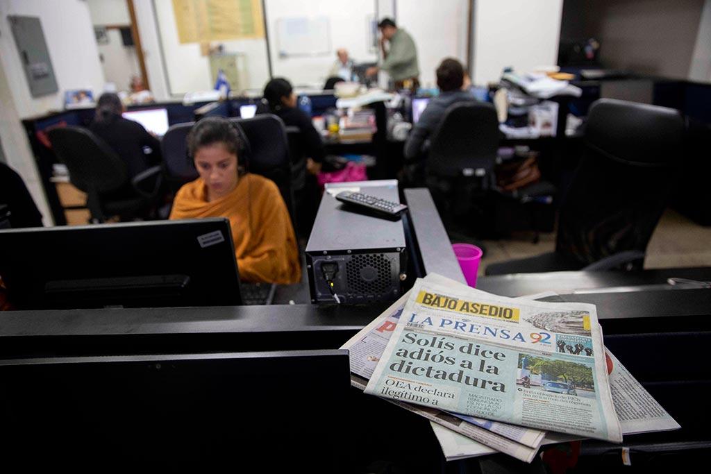 Sala de redacción del diario La Prensa, en Managua. Foto: Jorge Torres / EFE