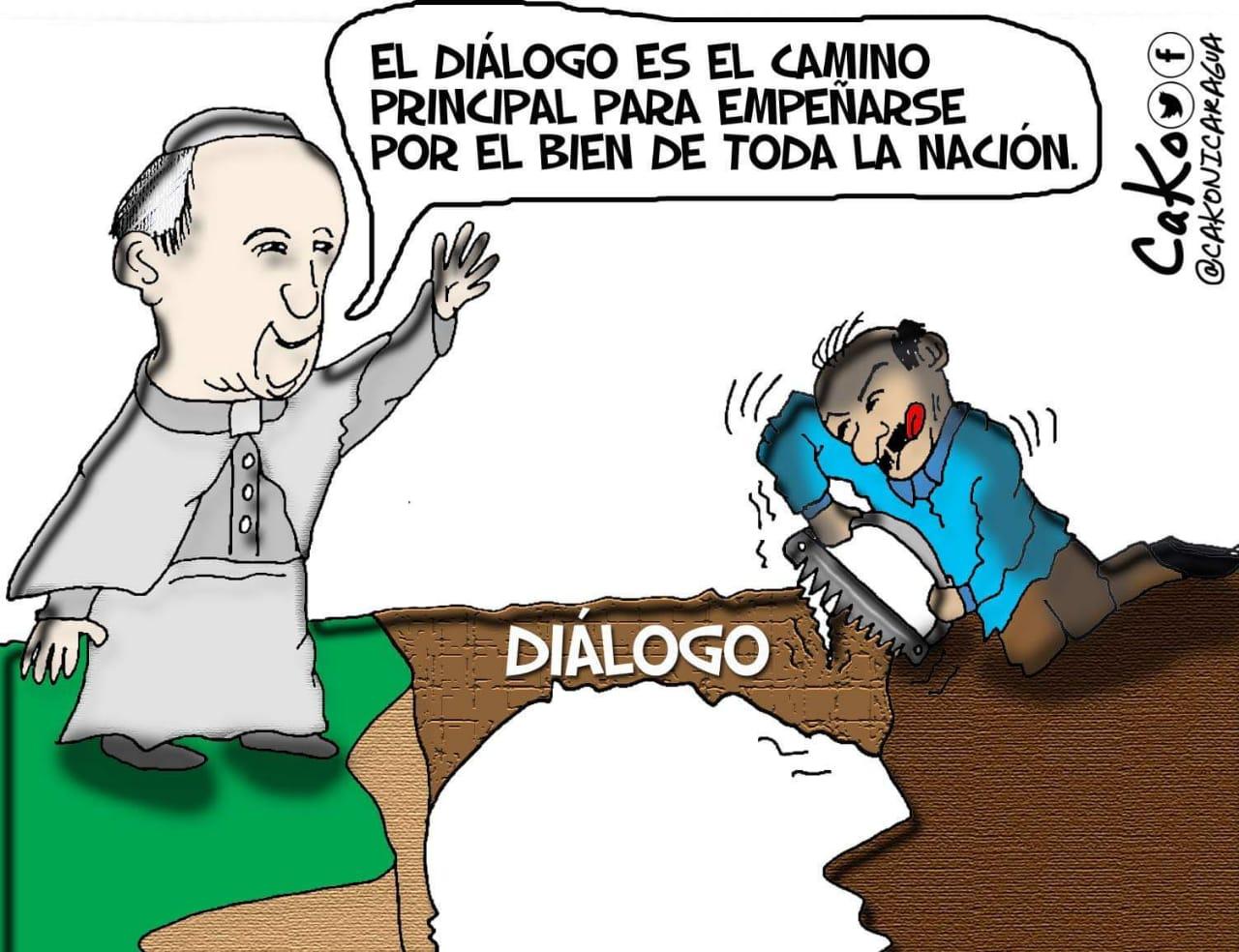 La Caricatura: El coma-andante serruchando el puente