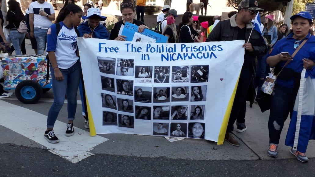 Nicas en los Ángeles, California protestan contra el régimen. Foto: Cortesía.