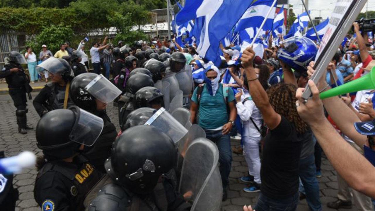 Policía orteguista niega permiso a empresarios para marchar . Imagen tomada de internet.