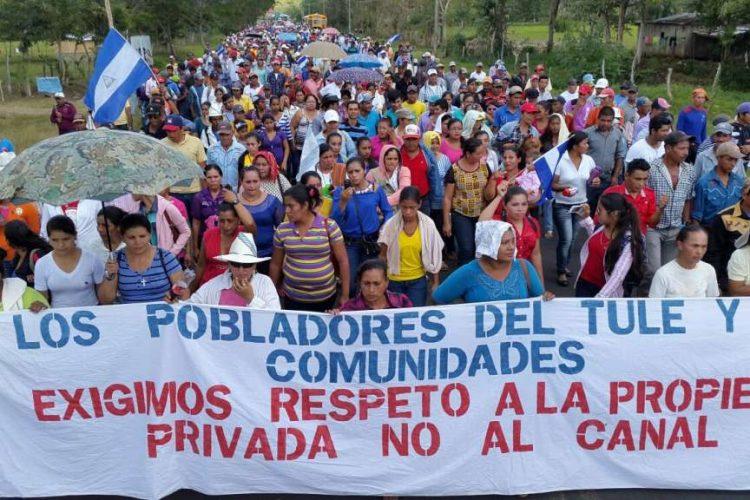 Protesta campesina contra la ley canalera. Foto: La Prensa.