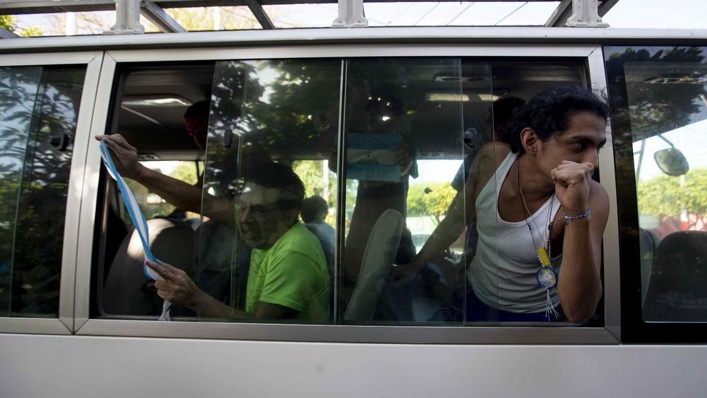 Algunos de los presos políticos condicionados a casa por cárcel por parte del régimen orteguista. Foto: Jorge Torres/EFE