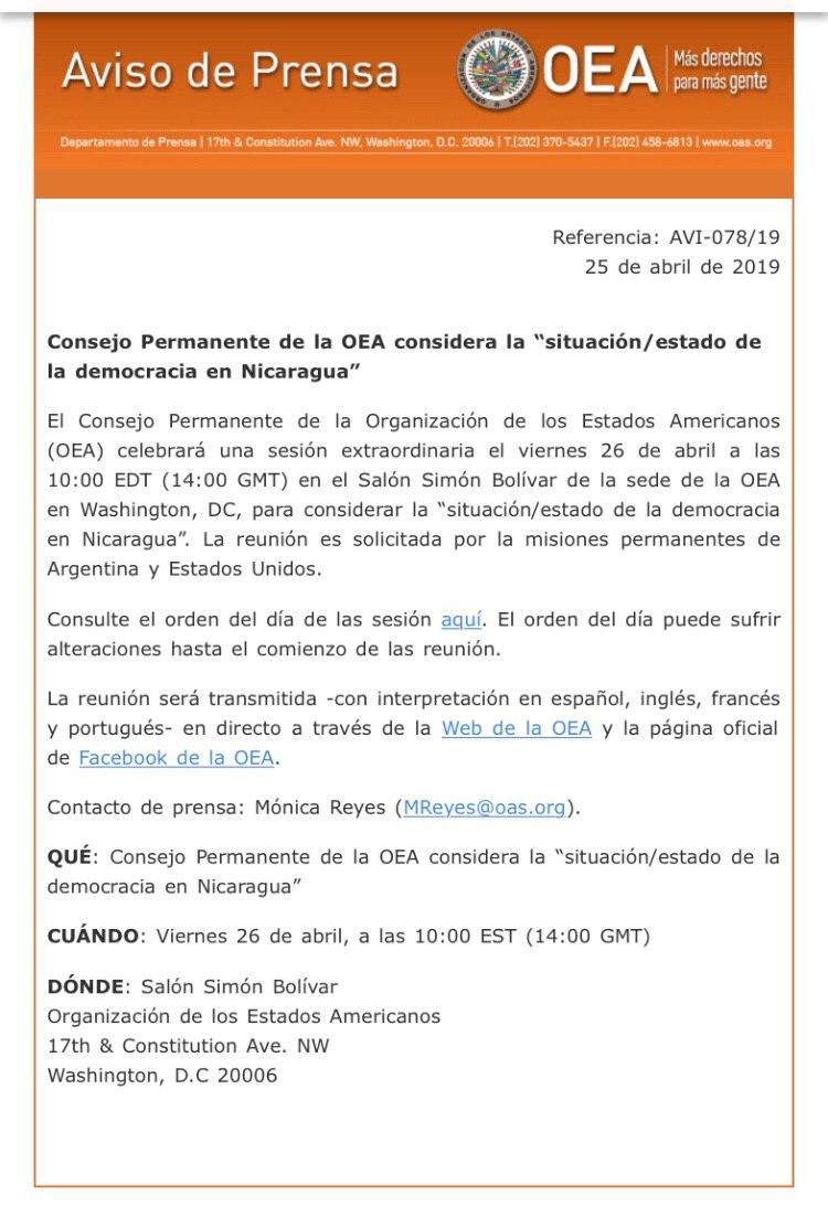 Nota de prensa OEA.