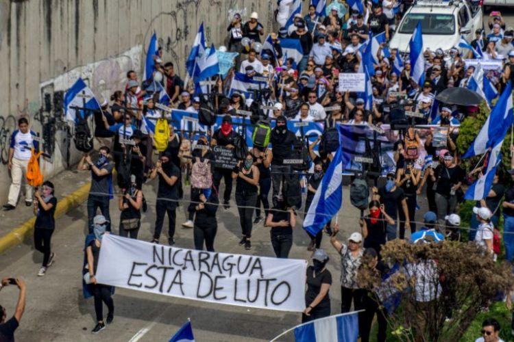 Nicaragüenses en la marcha del 30 de mayo de 2018 en honor a las madres de las víctimas del régimen de Daniel Ortega. FOTO/LA PRENSA/CARLOS VALLE.