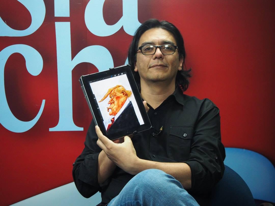 Pedro Molina, caricaturista de Confidencial. Foto: Confidencial