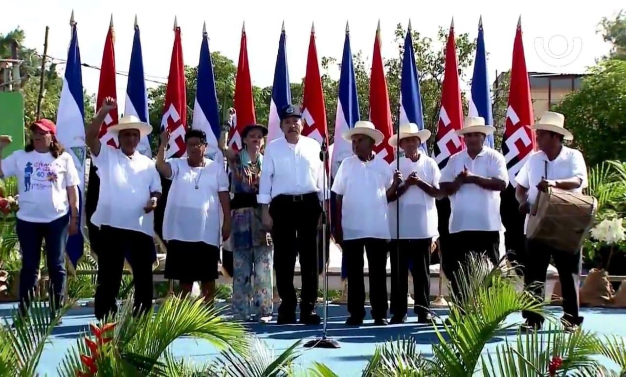 Ortega presidió el acto sin ningún comandante de la revolución en la tarima. Foto: Cortesía