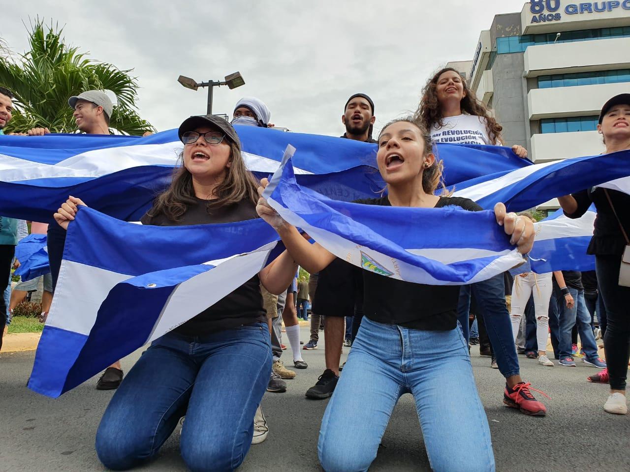 Protesta de estudiantes contra Daniel Ortega. Foto: Á Navarro/Artículo 66