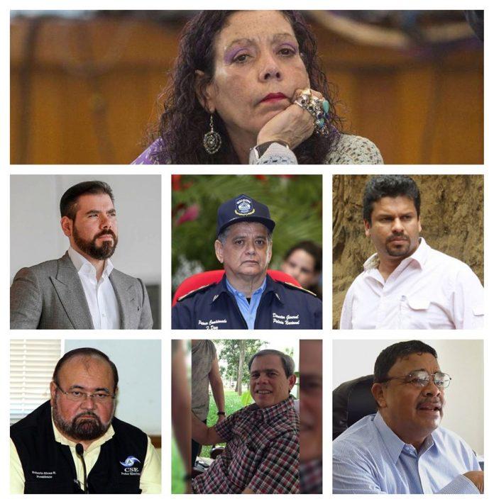 Estos fueron los primeros siete sancionados por Estados Unidos. Después se sumaron cuatro, entre ellos Gustavo Porras y la ministra de salud, Sonia Castro.